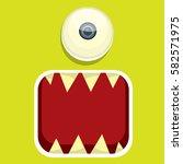 vector green funny monster face.... | Shutterstock .eps vector #582571975