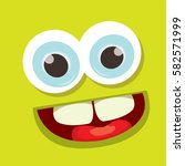 vector green funny monster face.... | Shutterstock .eps vector #582571999