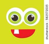 vector green funny monster face.... | Shutterstock .eps vector #582572035