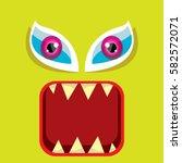 vector green funny monster face.... | Shutterstock .eps vector #582572071