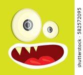 vector green funny monster face.... | Shutterstock .eps vector #582572095