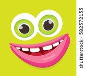 vector green funny monster face.... | Shutterstock .eps vector #582572155