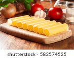 Uncooked Cannelloni Pasta On...