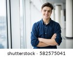 portrait of young man with... | Shutterstock . vector #582575041