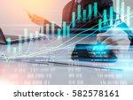 double exposure businessman and ... | Shutterstock . vector #582578161