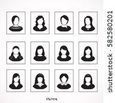 female avatar icons set. people ... | Shutterstock .eps vector #582580201