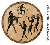 ancient greece scene. black... | Shutterstock .eps vector #582580465