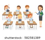 teacher with pupils in a... | Shutterstock .eps vector #582581389