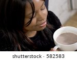 hot chocolate  closed eyes | Shutterstock . vector #582583