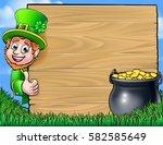 a cartoon leprechaun character... | Shutterstock .eps vector #582585649