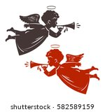 christmas angel plays the... | Shutterstock .eps vector #582589159