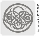 monochrome icon with celtic art ... | Shutterstock .eps vector #582597835