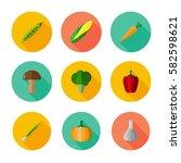 vegetables. icon set for web... | Shutterstock .eps vector #582598621