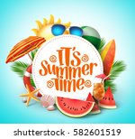 summer time vector banner... | Shutterstock .eps vector #582601519
