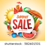 summer sale vector banner... | Shutterstock .eps vector #582601531