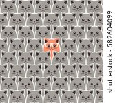 cat seamless pattern. vector... | Shutterstock .eps vector #582604099