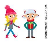set of walking young teenage in ... | Shutterstock .eps vector #582614725