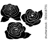 silhouette of rose on a white... | Shutterstock .eps vector #582618751