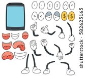 vector set of smartphone cartoon | Shutterstock .eps vector #582625165
