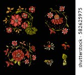 embroidery. embroidered design... | Shutterstock .eps vector #582625975