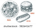 set with various fast food. hot ...   Shutterstock .eps vector #582641677