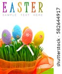 colorful easter eggs in the... | Shutterstock . vector #582644917