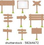 vector set of wooden signs | Shutterstock .eps vector #58264672