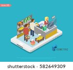 mobile grocery shopping e... | Shutterstock .eps vector #582649309