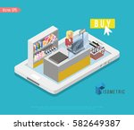 supermarket and store stuff ... | Shutterstock .eps vector #582649387