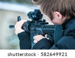 airsoft game player and gun... | Shutterstock . vector #582649921