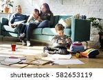 family spend time happiness... | Shutterstock . vector #582653119