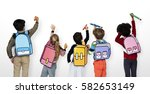 classmates friends bag school... | Shutterstock . vector #582653149
