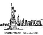statue of liberty and manhattan.... | Shutterstock .eps vector #582660301
