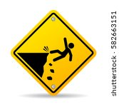 danger cliff vector sign  stay... | Shutterstock .eps vector #582663151