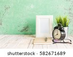 wooden workplace desktop with... | Shutterstock . vector #582671689