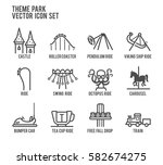 theme park amusement vector... | Shutterstock .eps vector #582674275