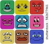 set of smileys  monsters  funny ... | Shutterstock .eps vector #582677461