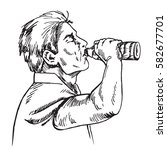 man is drinking water from... | Shutterstock .eps vector #582677701