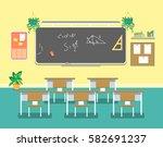 cartoon classroom design... | Shutterstock .eps vector #582691237