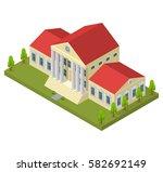 bank building isometric view... | Shutterstock .eps vector #582692149