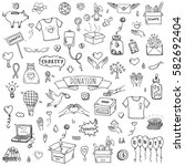 hand drawn doodle donation... | Shutterstock .eps vector #582692404