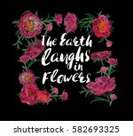 the earth laughs in flowers... | Shutterstock .eps vector #582693325