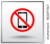 no phone sign icon  vector... | Shutterstock .eps vector #582697567
