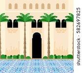 mediterranean courtyard.... | Shutterstock .eps vector #582697825