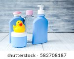 baby organic cosmetic for bath...   Shutterstock . vector #582708187