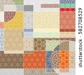 vector patchwork quilt pattern. ... | Shutterstock .eps vector #582708529