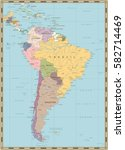 south america political map... | Shutterstock .eps vector #582714469