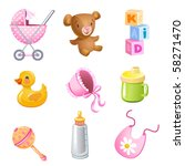 set of 9 vector toys and... | Shutterstock .eps vector #58271470