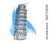 Pisa Tower Sketch Vector...
