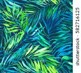seamless tropical pattern with... | Shutterstock . vector #582716125